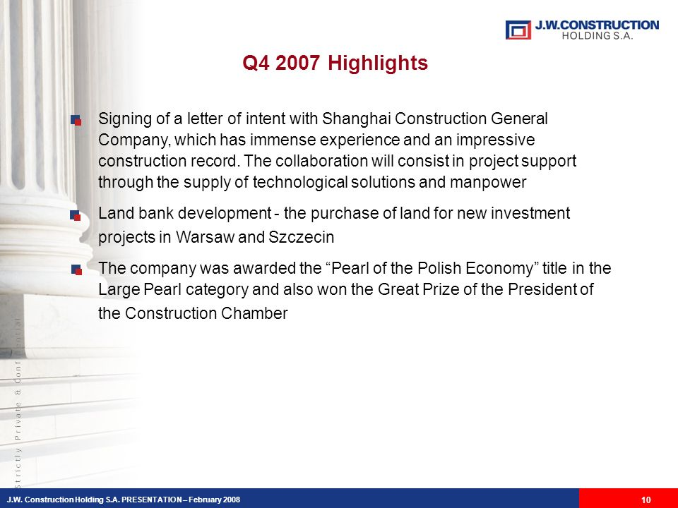 S t r i c t l y P r i v a t e & C o n f i d e n t i a l Signing of a letter of intent with Shanghai Construction General Company, which has immense experience and an impressive construction record.