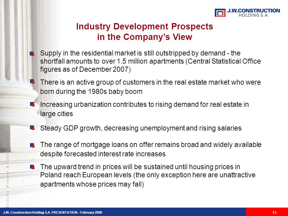 S t r i c t l y P r i v a t e & C o n f i d e n t i a l Industry Development Prospects in the Companys View Supply in the residential market is still outstripped by demand - the shortfall amounts to over 1.5 million apartments (Central Statistical Office figures as of December 2007) There is an active group of customers in the real estate market who were born during the 1980s baby boom Increasing urbanization contributes to rising demand for real estate in large cities Steady GDP growth, decreasing unemployment and rising salaries The range of mortgage loans on offer remains broad and widely available despite forecasted interest rate increases The upward trend in prices will be sustained until housing prices in Poland reach European levels (the only exception here are unattractive apartments whose prices may fall) J.W.