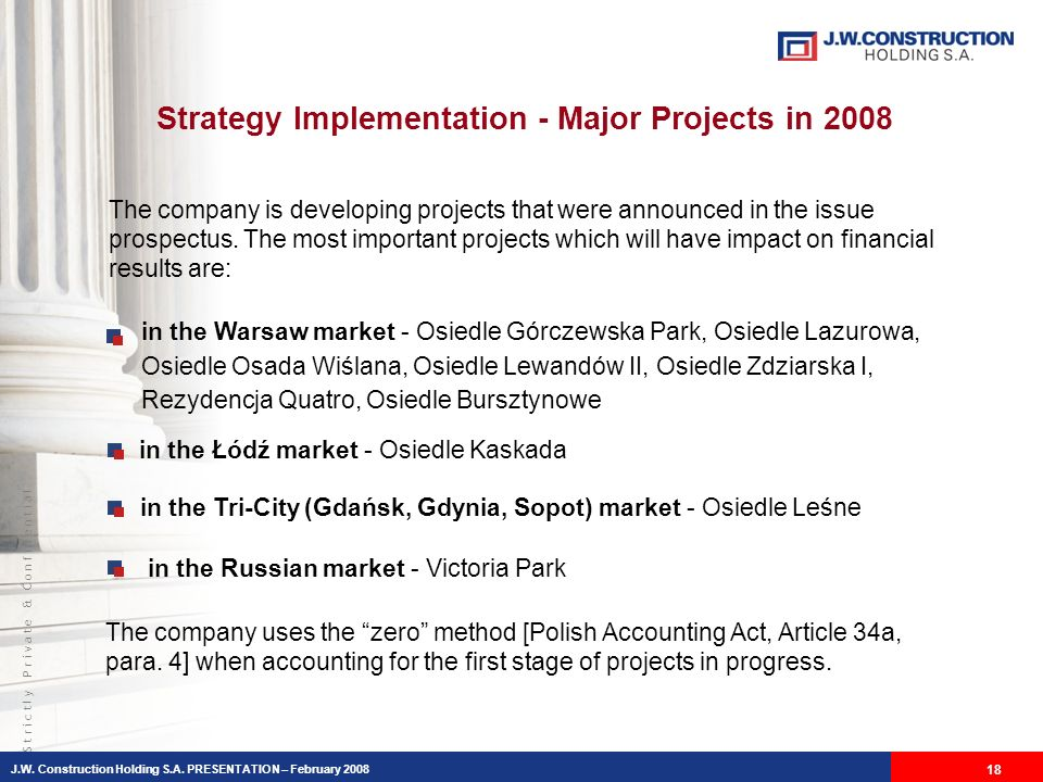 S t r i c t l y P r i v a t e & C o n f i d e n t i a l Strategy Implementation - Major Projects in 2008 The company is developing projects that were announced in the issue prospectus.