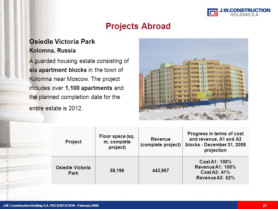 S t r i c t l y P r i v a t e & C o n f i d e n t i a l Projects Abroad Osiedle Victoria Park Kolomna, Russia A guarded housing estate consisting of six apartment blocks in the town of Kolomna near Moscow.