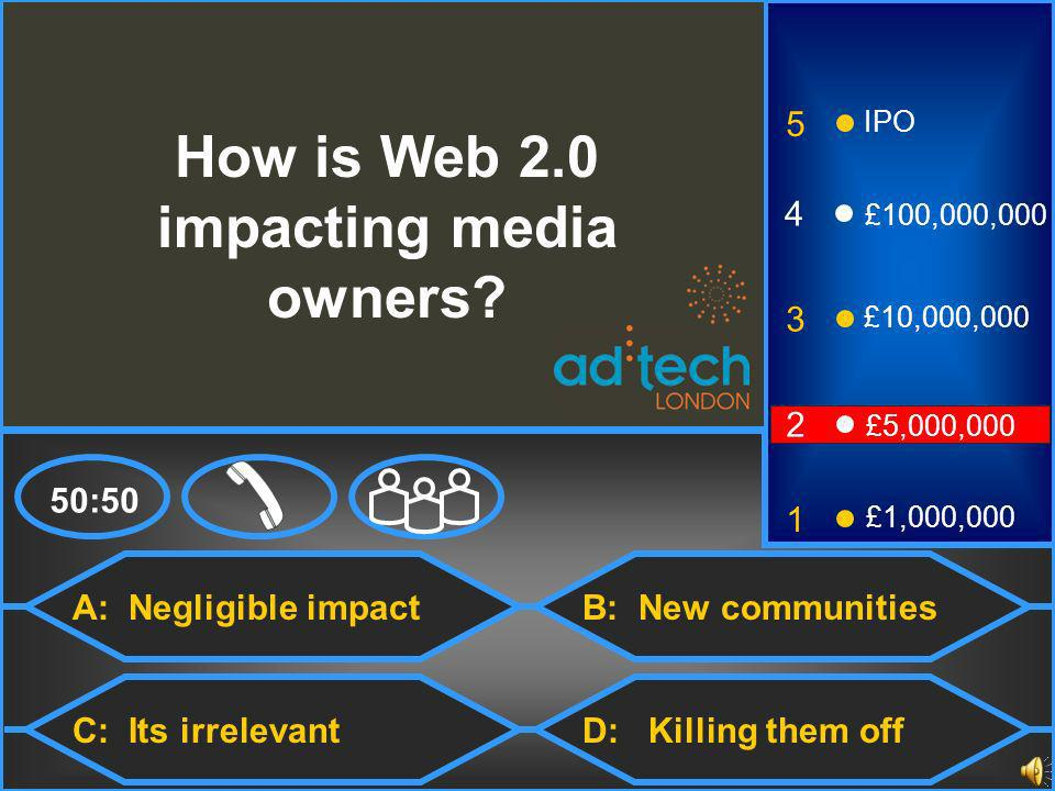 A: Negligible impact C: Its irrelevant B: New communities D: Killing them off 50:50 3 2 1 £5,000,000 £1,000,000 £10,000,000 4 £100,000,000 5 IPO How is Web 2.0 impacting media owners