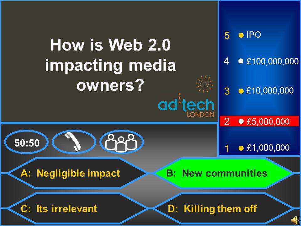 A: Negligible impact C: Its irrelevant 50:50 3 2 1 £5,000,000 £1,000,000 £10,000,000 4 £100,000,000 5 IPO D: Killing them off How is Web 2.0 impacting media owners.