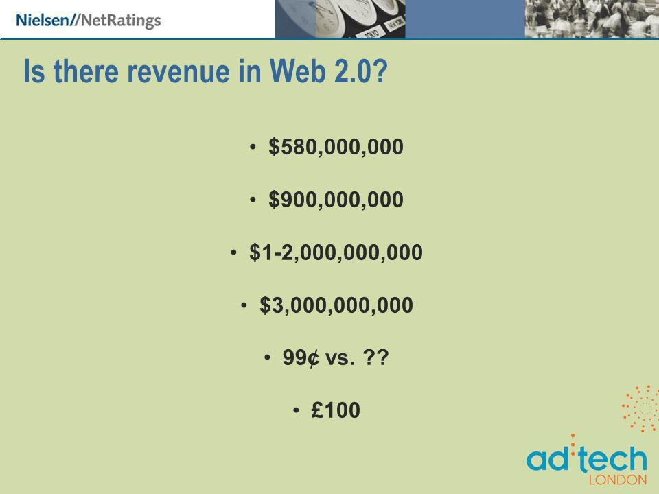 Is there revenue in Web 2.0. $580,000,000 $900,000,000 $1-2,000,000,000 $3,000,000,000 99¢ vs.
