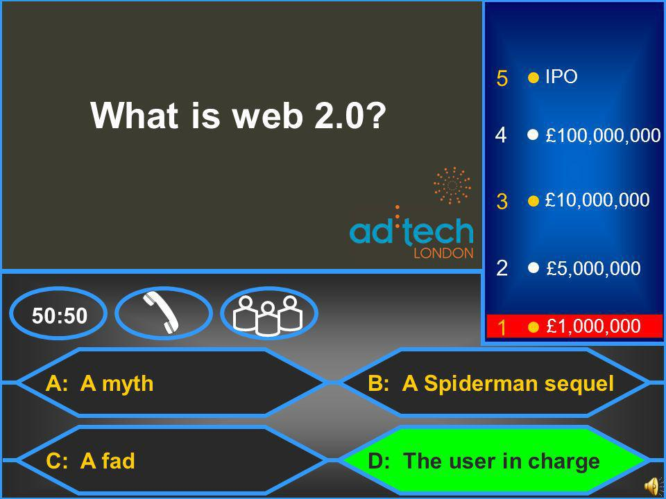 A: A myth C: A fad B: A Spiderman sequel 50:50 3 2 1 £5,000,000 £1,000,000 £10,000,000 4 £100,000,000 5 IPO What is web 2.0.