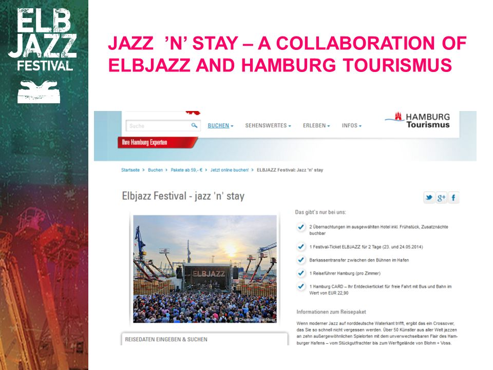 JAZZ N STAY – A COLLABORATION OF ELBJAZZ AND HAMBURG TOURISMUS