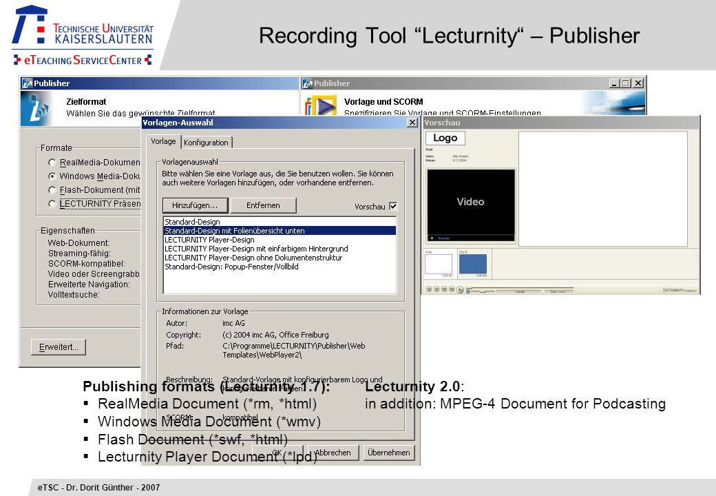 Recording Tool Lecturnity – Publisher eTSC - Dr.