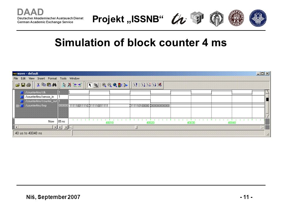 Projekt ISSNB Niš, September 2007- 11 - DAAD Deutscher Akademischer Austausch Dienst German Academic Exchange Service Simulation of block counter 4 ms