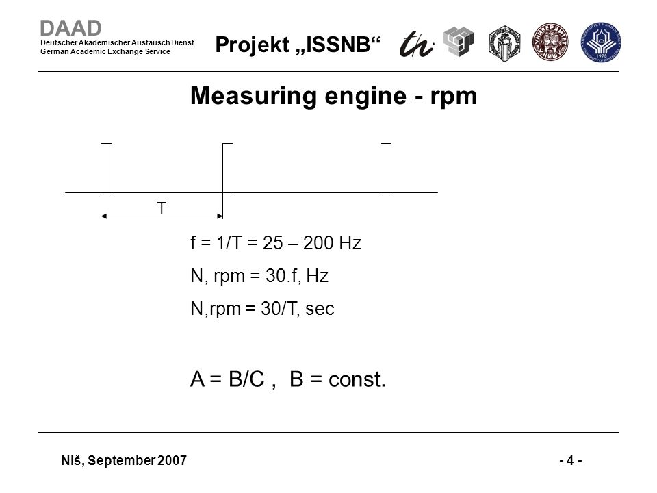 Projekt ISSNB Niš, September 2007- 4 - DAAD Deutscher Akademischer Austausch Dienst German Academic Exchange Service Measuring engine - rpm T f = 1/T = 25 – 200 Hz N, rpm = 30.f, Hz N,rpm = 30/T, sec A = B/C, B = const.