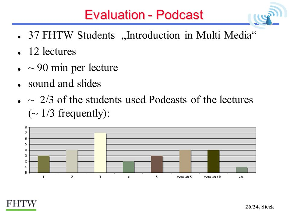 26/34, Sieck Evaluation - Podcast 37 FHTW Students Introduction in Multi Media 12 lectures ~ 90 min per lecture sound and slides ~ 2/3 of the students used Podcasts of the lectures (~ 1/3 frequently):