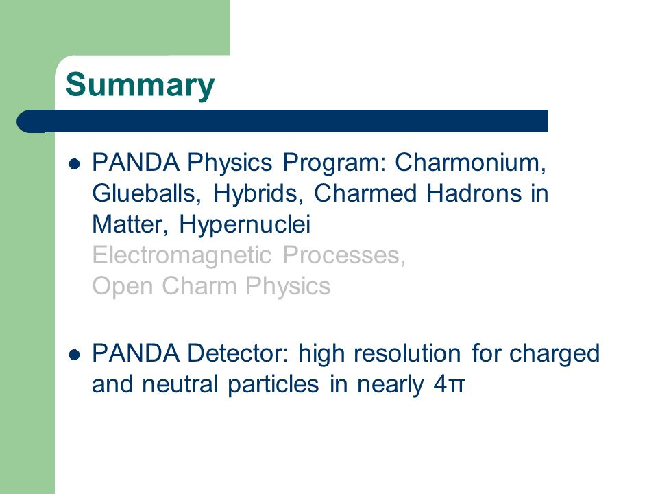 Summary PANDA Physics Program: Charmonium, Glueballs, Hybrids, Charmed Hadrons in Matter, Hypernuclei Electromagnetic Processes, Open Charm Physics PANDA Detector: high resolution for charged and neutral particles in nearly 4π