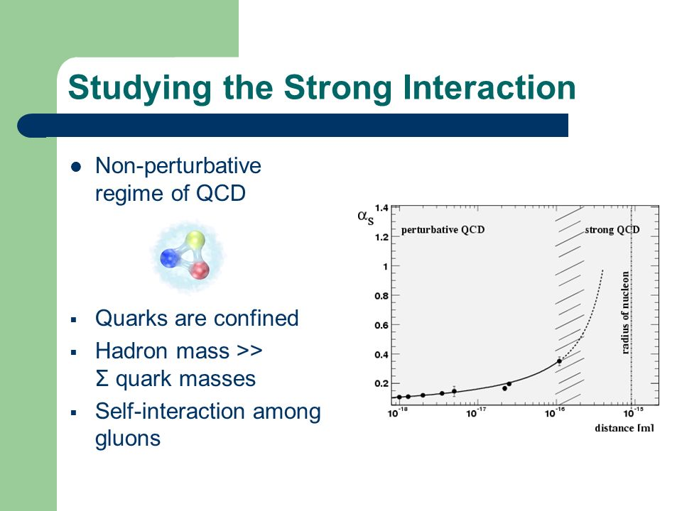 Studying the Strong Interaction Non-perturbative regime of QCD Quarks are confined Hadron mass >> Σ quark masses Self-interaction among gluons