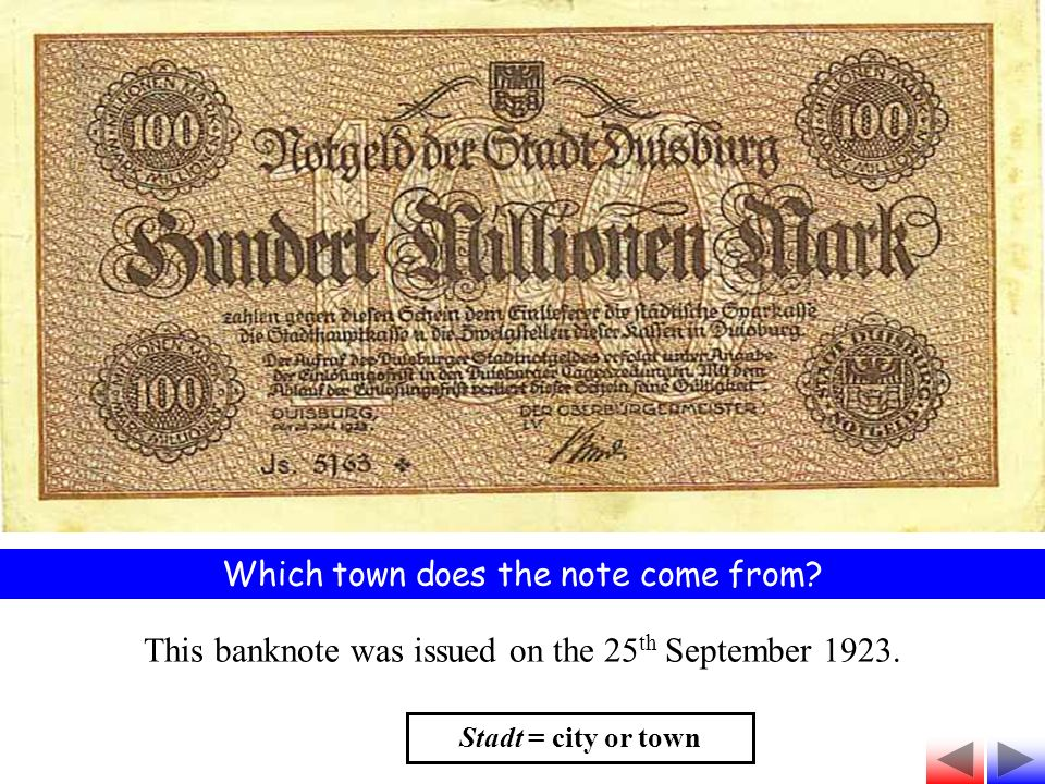 Which town does the note come from This banknote was issued on the 25 th September 1923.