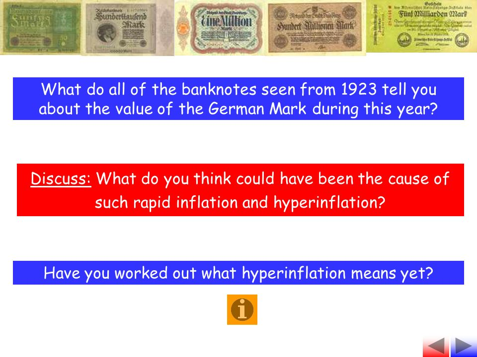 What do all of the banknotes seen from 1923 tell you about the value of the German Mark during this year.