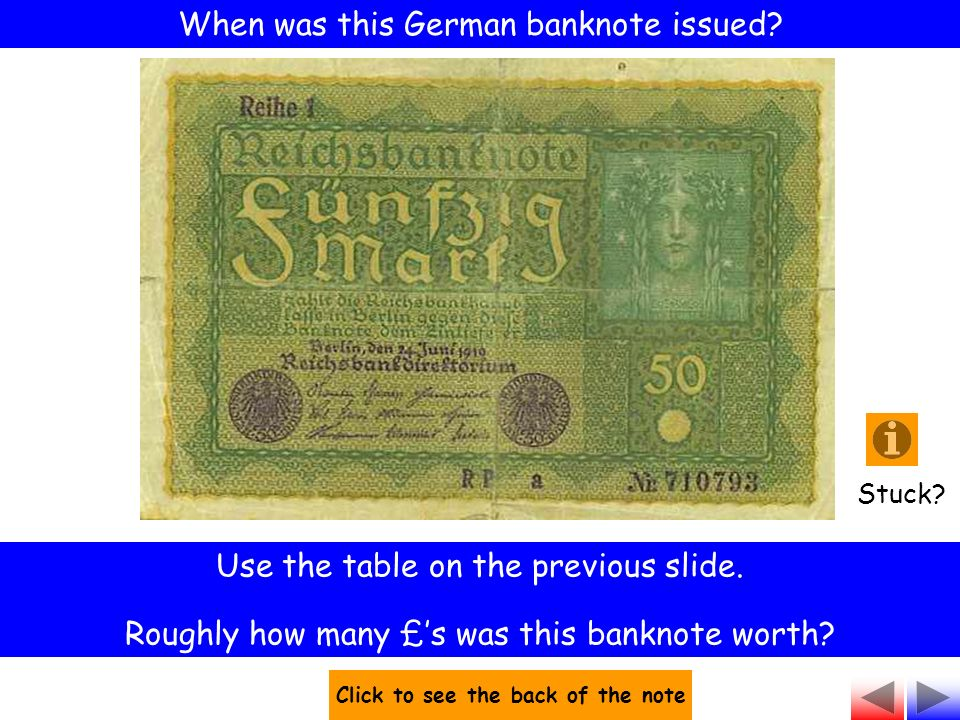 When was this German banknote issued. Use the table on the previous slide.