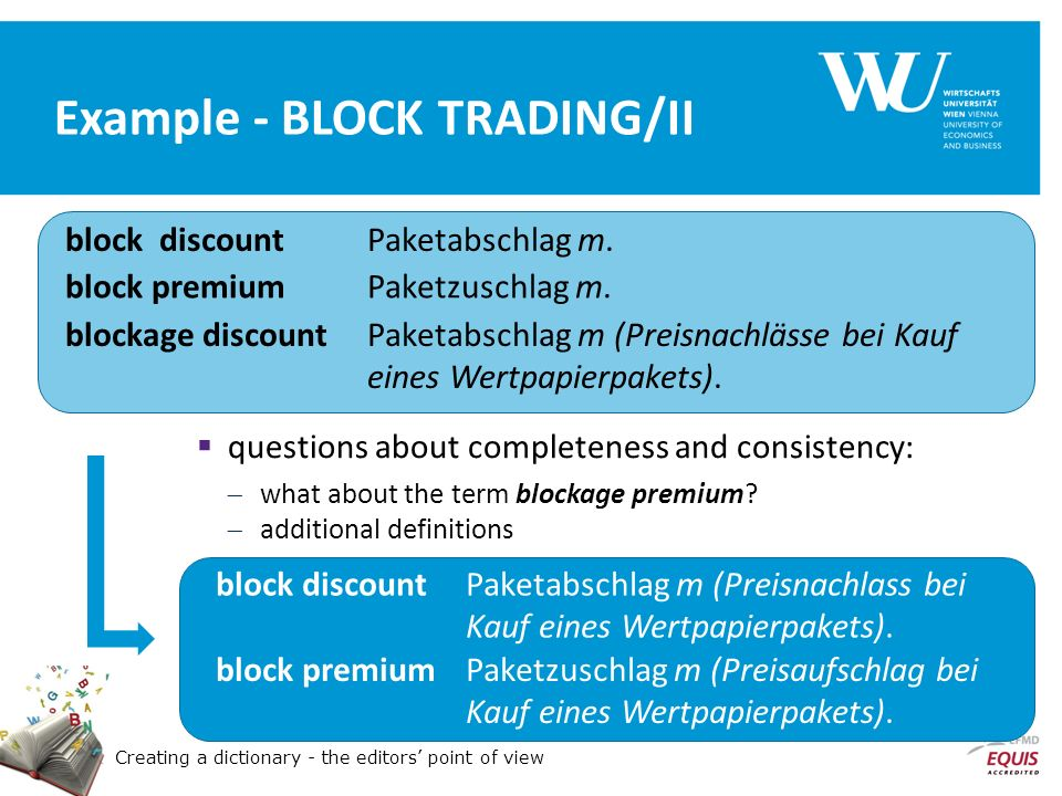 Creating a dictionary - the editors point of view Example - BLOCK TRADING/II block discountPaketabschlag m.