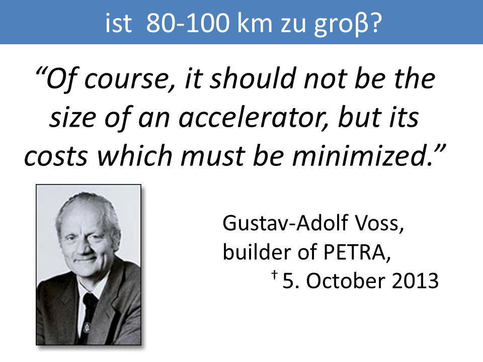 Of course, it should not be the size of an accelerator, but its costs which must be minimized.