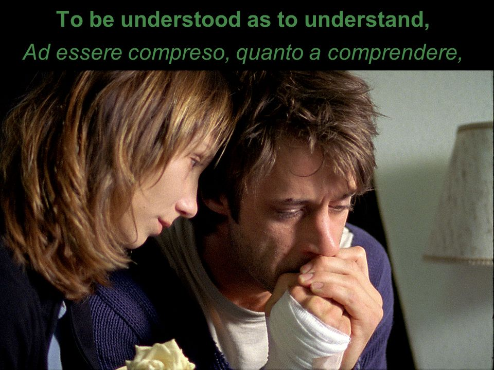To be understood as to understand, Ad essere compreso, quanto a comprendere,