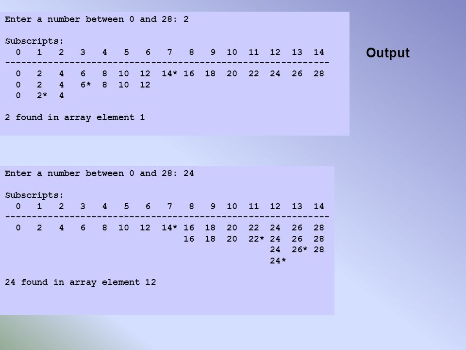 Output Enter a number between 0 and 28: 2 Subscripts: 0 1 2 3 4 5 6 7 8 9 10 11 12 13 14 ------------------------------------------------------------ 0 2 4 6 8 10 12 14* 16 18 20 22 24 26 28 0 2 4 6* 8 10 12 0 2* 4 2 found in array element 1 Enter a number between 0 and 28: 24 Subscripts: 0 1 2 3 4 5 6 7 8 9 10 11 12 13 14 ------------------------------------------------------------ 0 2 4 6 8 10 12 14* 16 18 20 22 24 26 28 16 18 20 22* 24 26 28 24 26* 28 24* 24 found in array element 12