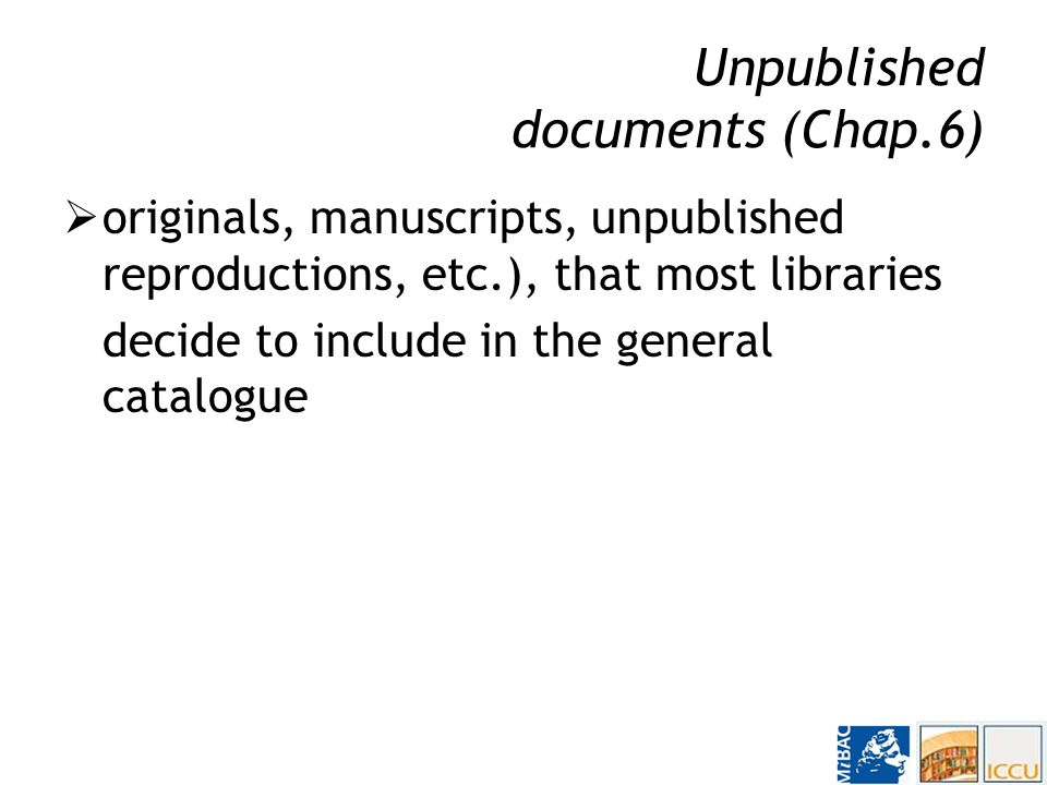 Part I, Bibliographic description and copy-specific information guidelines for basic decisions about what to describe, and how distinction between serials, monographic series and multi-part publications the treatment of multiple manifestations (reprints, variant issues, different formats, etc.) choice of the main source of information to be used in description Detailed rules concern the transcription of data