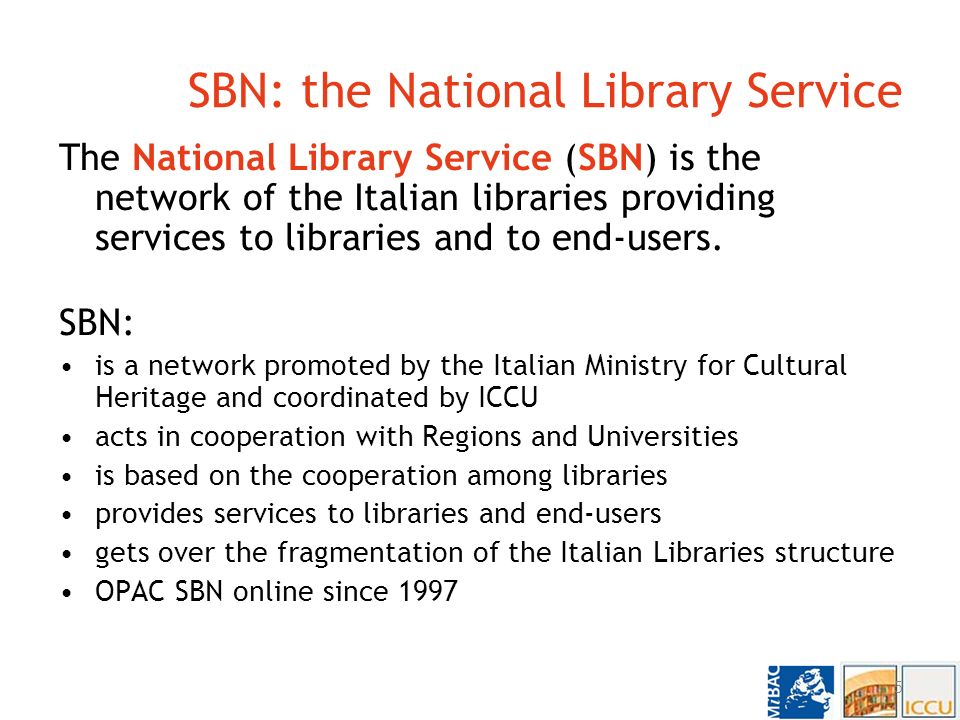 National projects National Library Service – SBN http://www.sbn.it/ Internet Culturale http://www.internetculturale.it/ CulturaItalia http://www.culturaitalia.it/