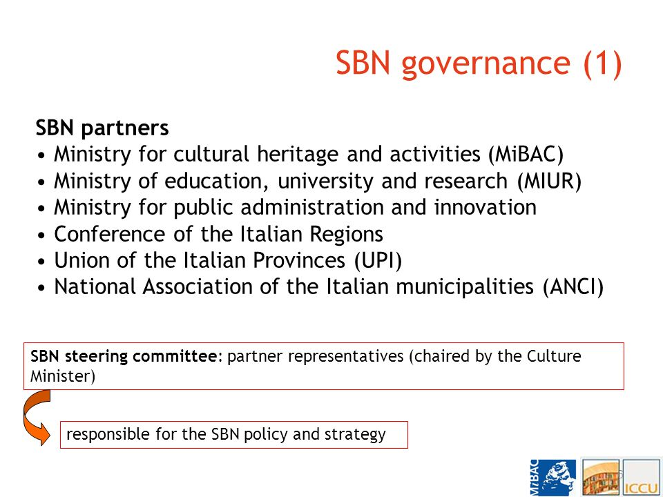SBN: the National Library Service The National Library Service (SBN) is the network of the Italian libraries providing services to libraries and to end-users.