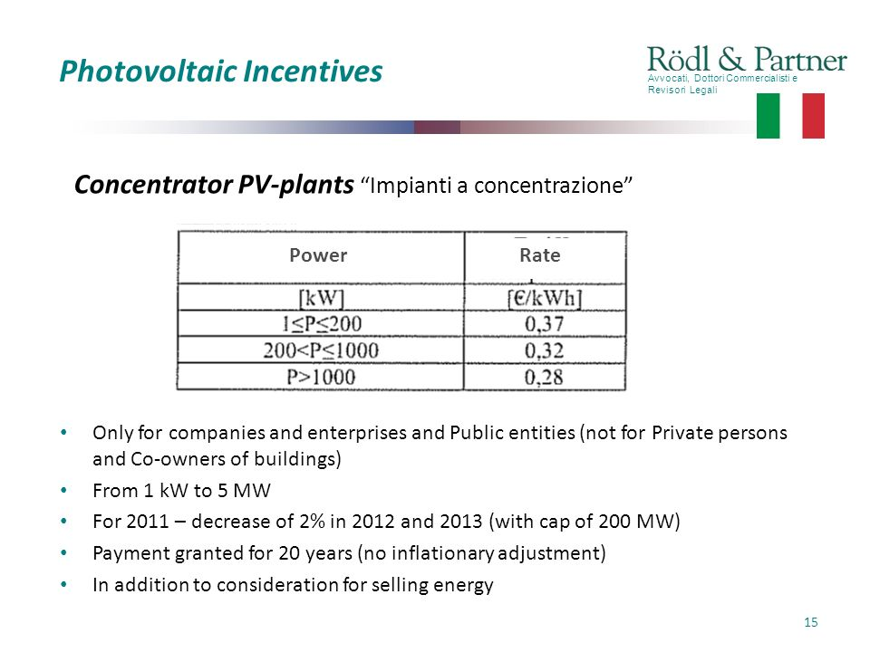 Avvocati, Dottori Commercialisti e Revisori Legali 15 Photovoltaic Incentives Only for companies and enterprises and Public entities (not for Private persons and Co-owners of buildings) From 1 kW to 5 MW For 2011 – decrease of 2% in 2012 and 2013 (with cap of 200 MW) Payment granted for 20 years (no inflationary adjustment) In addition to consideration for selling energy Concentrator PV-plants Impianti a concentrazione Power Rate