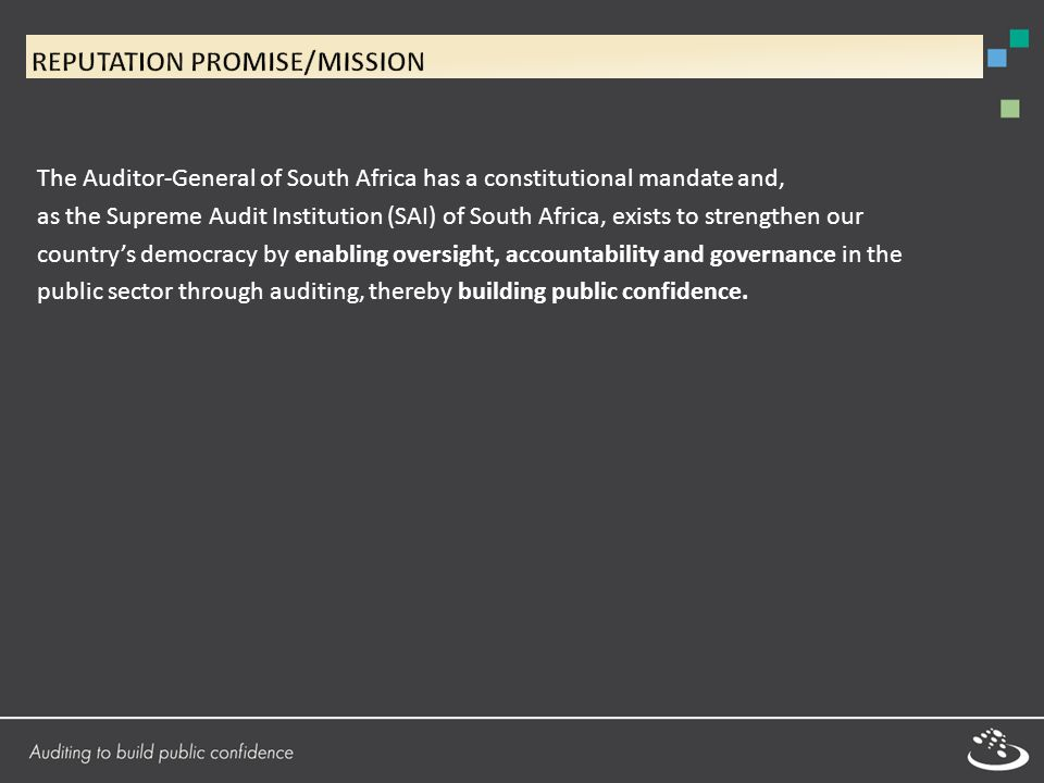 The Auditor-General of South Africa has a constitutional mandate and, as the Supreme Audit Institution (SAI) of South Africa, exists to strengthen our country's democracy by enabling oversight, accountability and governance in the public sector through auditing, thereby building public confidence.