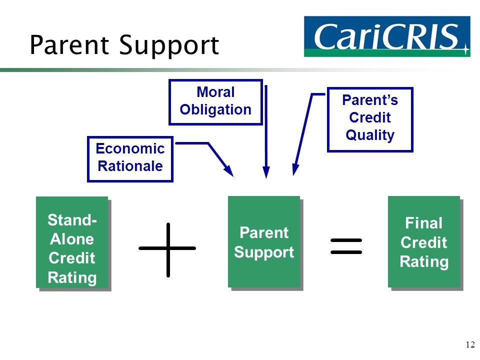 12 Parent Support Stand- Alone Credit Rating Stand- Alone Credit Rating Parent Support Parent Support Parent's Credit Quality Economic Rationale Moral Obligation Final Credit Rating
