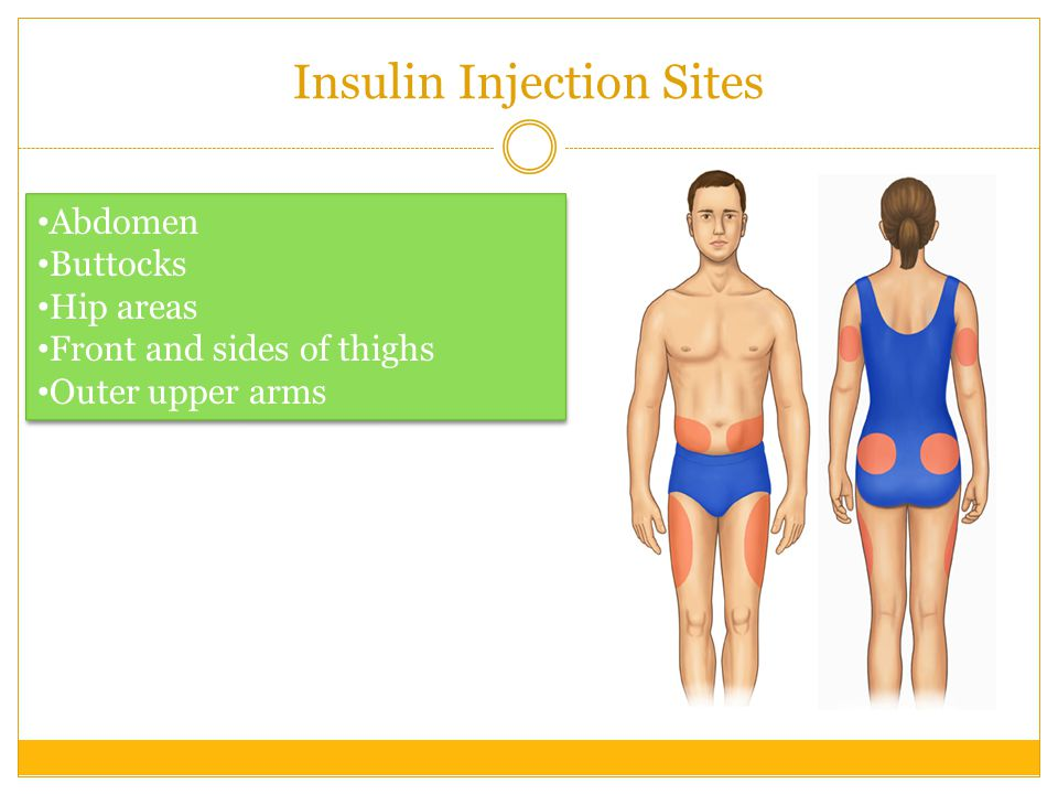 Giving an Insulin Injection Gather your insulin supplies Prepare your insulin bottle Draw insulin into syringe The insulin should be injected into a layer of fat under the skin If the needle is injected into muscle, the insulin will absorb too quickly
