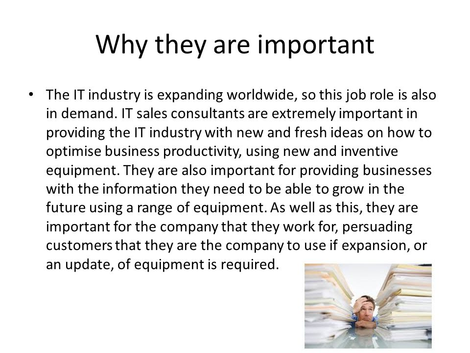 Why they are important The IT industry is expanding worldwide, so this job role is also in demand.