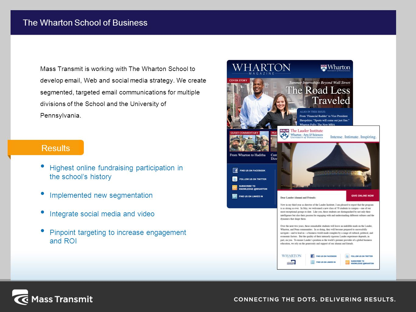 The Wharton School of Business Mass Transmit is working with The Wharton School to develop  , Web and social media strategy.