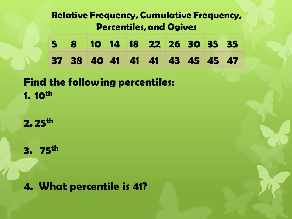 Find the following percentiles: 1.10 th 2.25 th 3.75 th 4.
