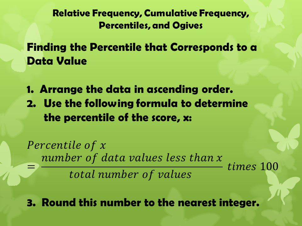 Relative Frequency, Cumulative Frequency, Percentiles, and Ogives