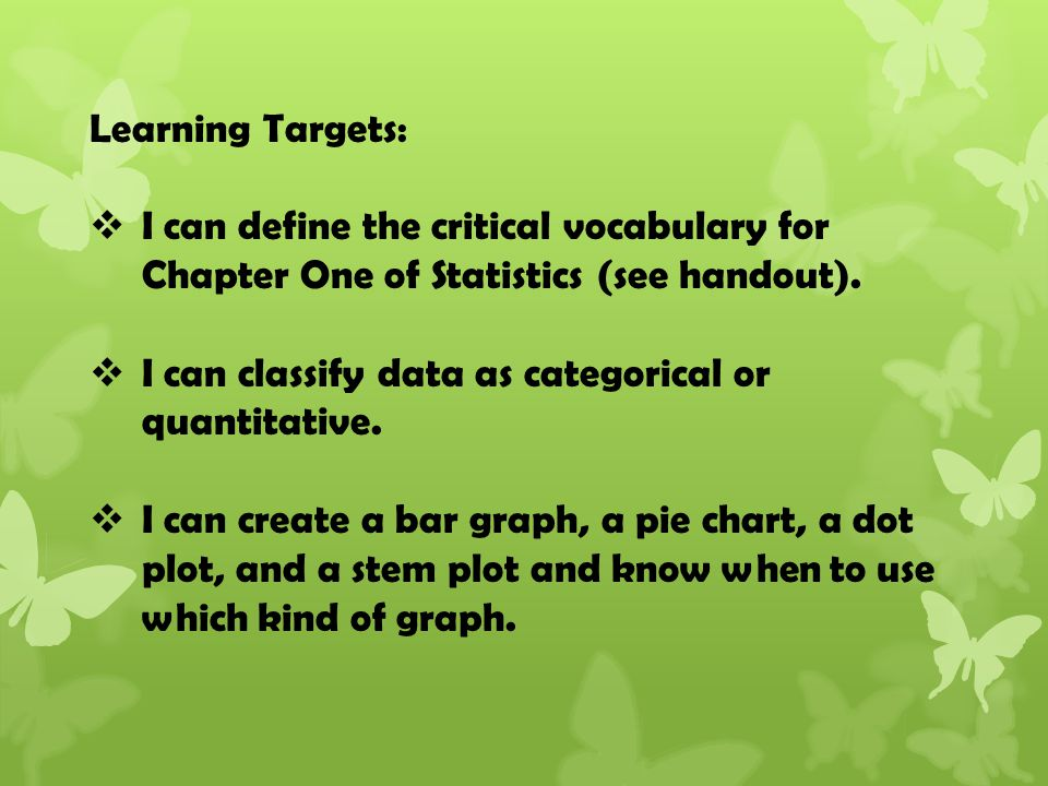 Learning Targets:  I can define the critical vocabulary for Chapter One of Statistics (see handout).