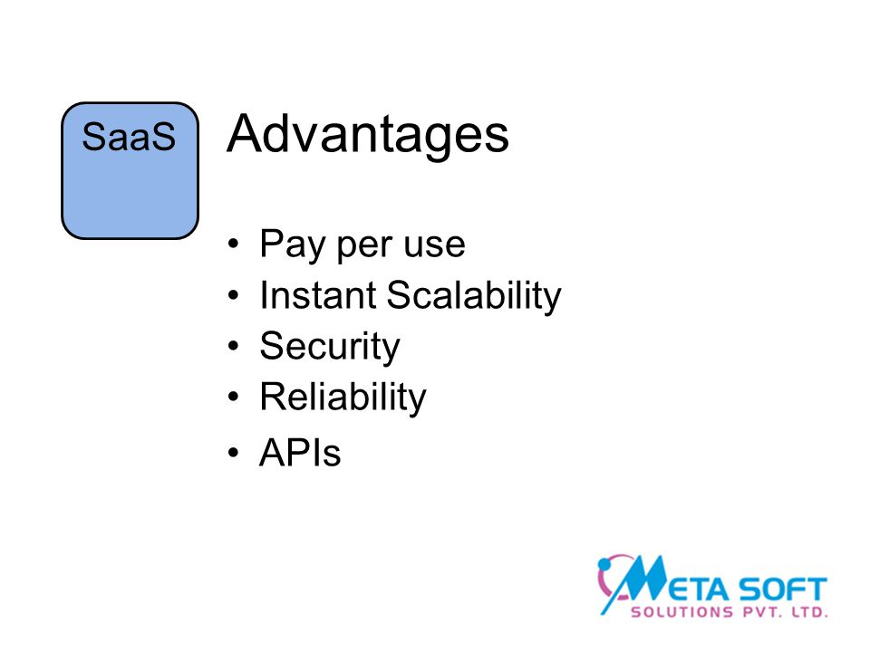 Advantages Pay per use Instant Scalability Security Reliability APIs SaaS