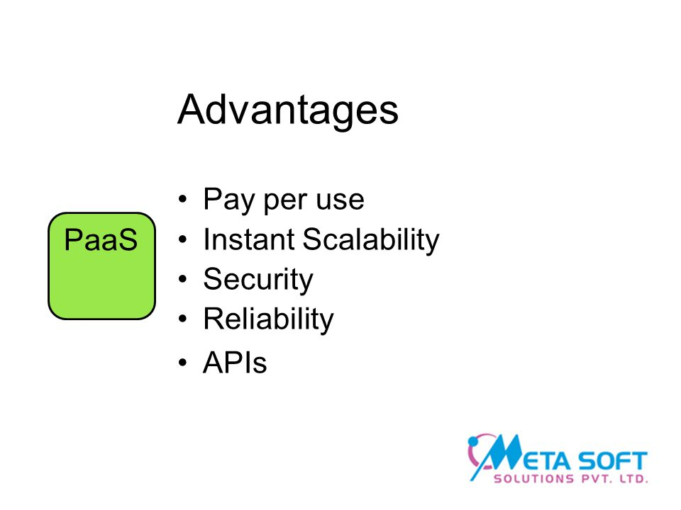 Advantages Pay per use Instant Scalability Security Reliability APIs PaaS