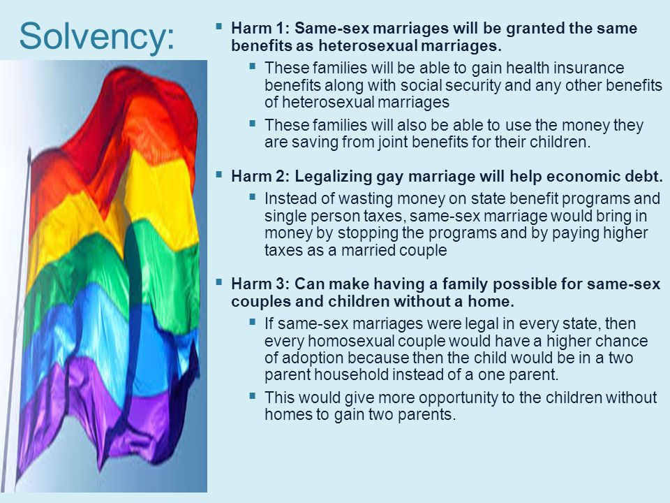 Same sex marriage health benefits