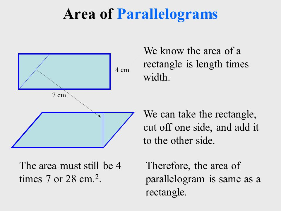 7 cm Area of Parallelograms Therefore, the area of parallelogram is same as a rectangle.