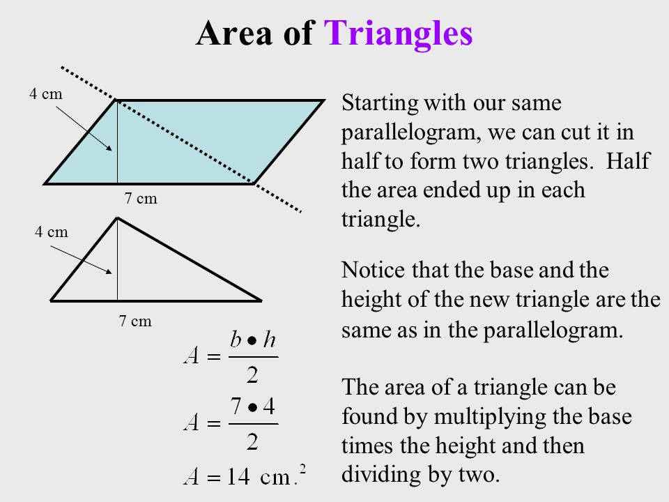 Area of Triangles 7 cm 4 cm Starting with our same parallelogram, we can cut it in half to form two triangles.
