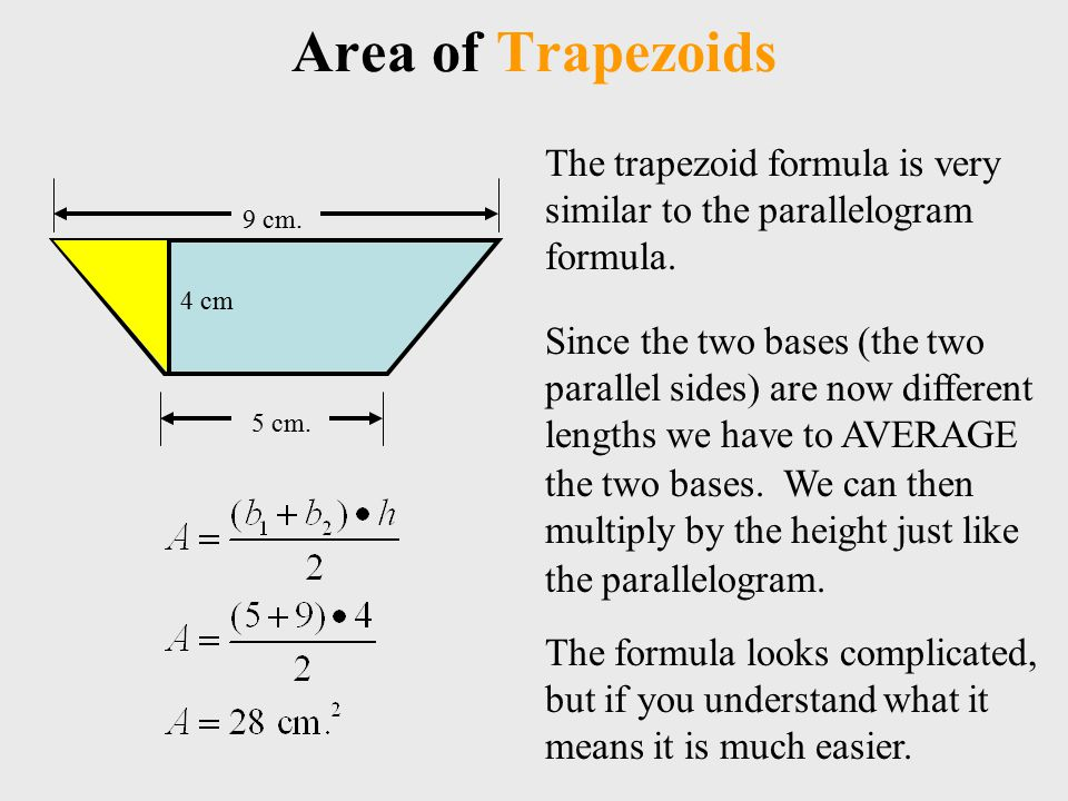Area of Trapezoids The trapezoid formula is very similar to the parallelogram formula.