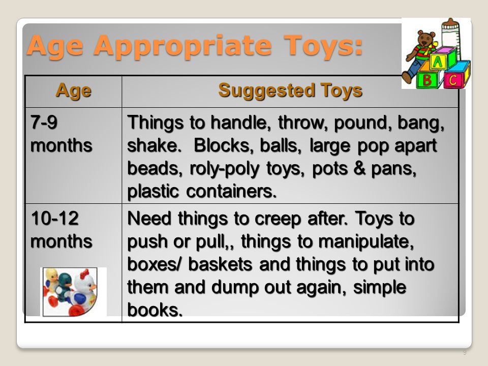 Age Appropriate Toys: Age Suggested Toys 7-9 months Things to handle, throw, pound, bang, shake.