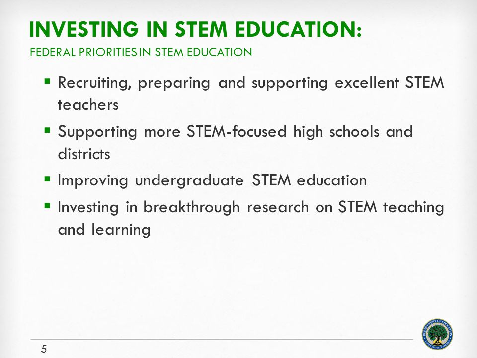 INVESTING IN STEM EDUCATION:  Recruiting, preparing and supporting excellent STEM teachers  Supporting more STEM-focused high schools and districts  Improving undergraduate STEM education  Investing in breakthrough research on STEM teaching and learning 5 FEDERAL PRIORITIES IN STEM EDUCATION