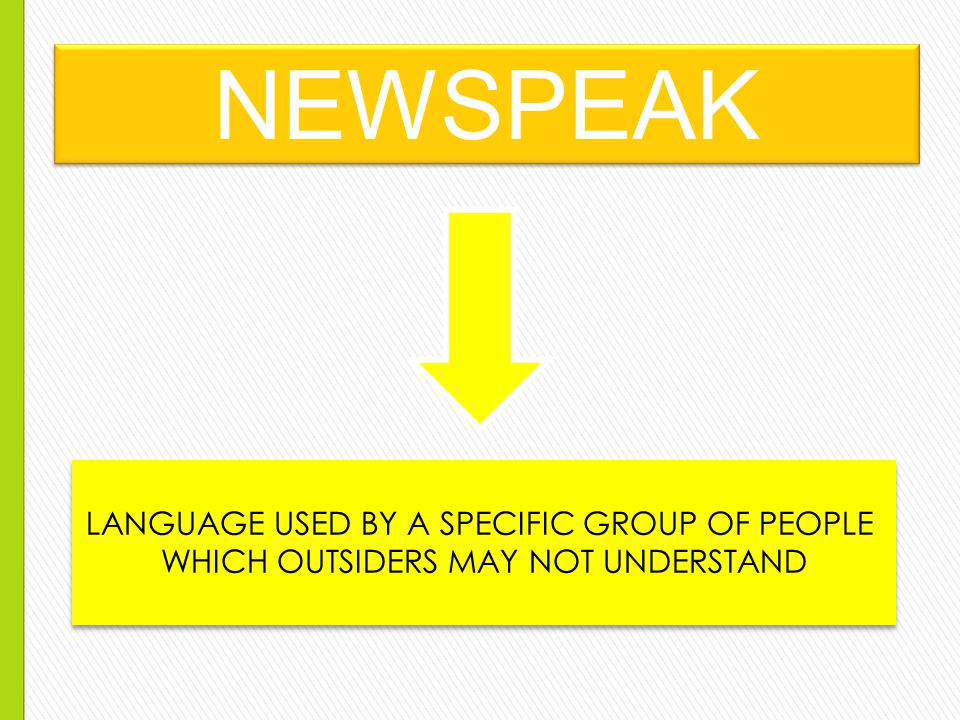 NEWSPEAK LANGUAGE USED BY A SPECIFIC GROUP OF PEOPLE WHICH OUTSIDERS MAY NOT UNDERSTAND LANGUAGE USED BY A SPECIFIC GROUP OF PEOPLE WHICH OUTSIDERS MAY NOT UNDERSTAND