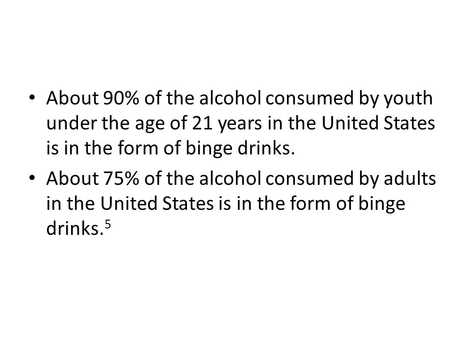 About 90% of the alcohol consumed by youth under the age of 21 years in the United States is in the form of binge drinks.