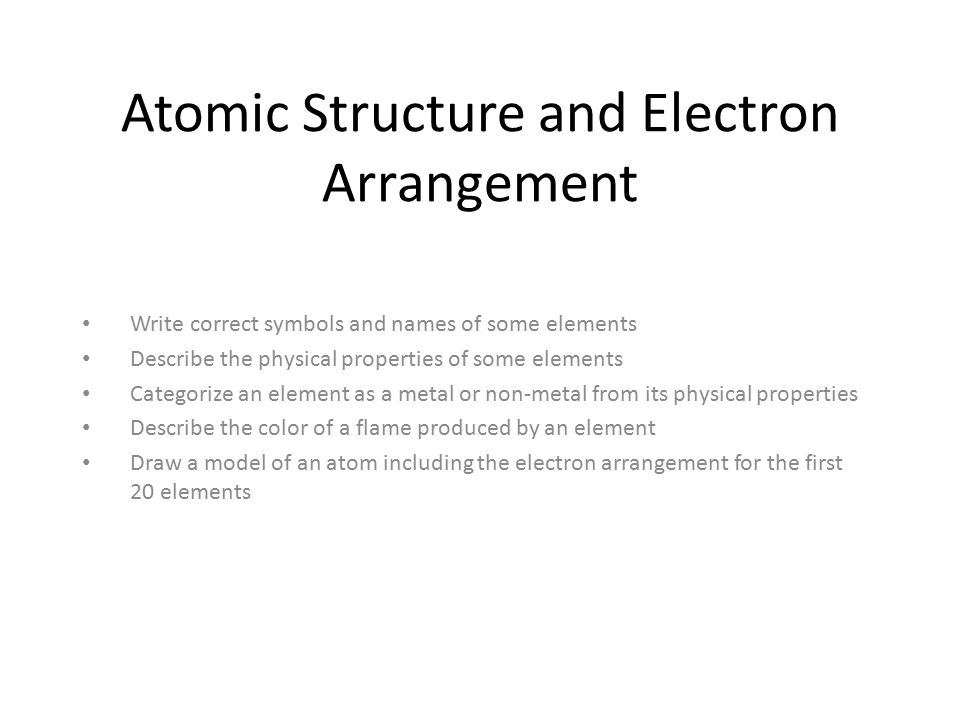 Atomic Structure And Electron Arrangement Write Correct Symbols And