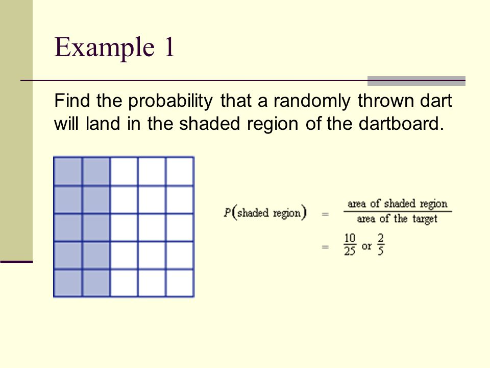Example 1 Find the probability that a randomly thrown dart will land in the shaded region of the dartboard.