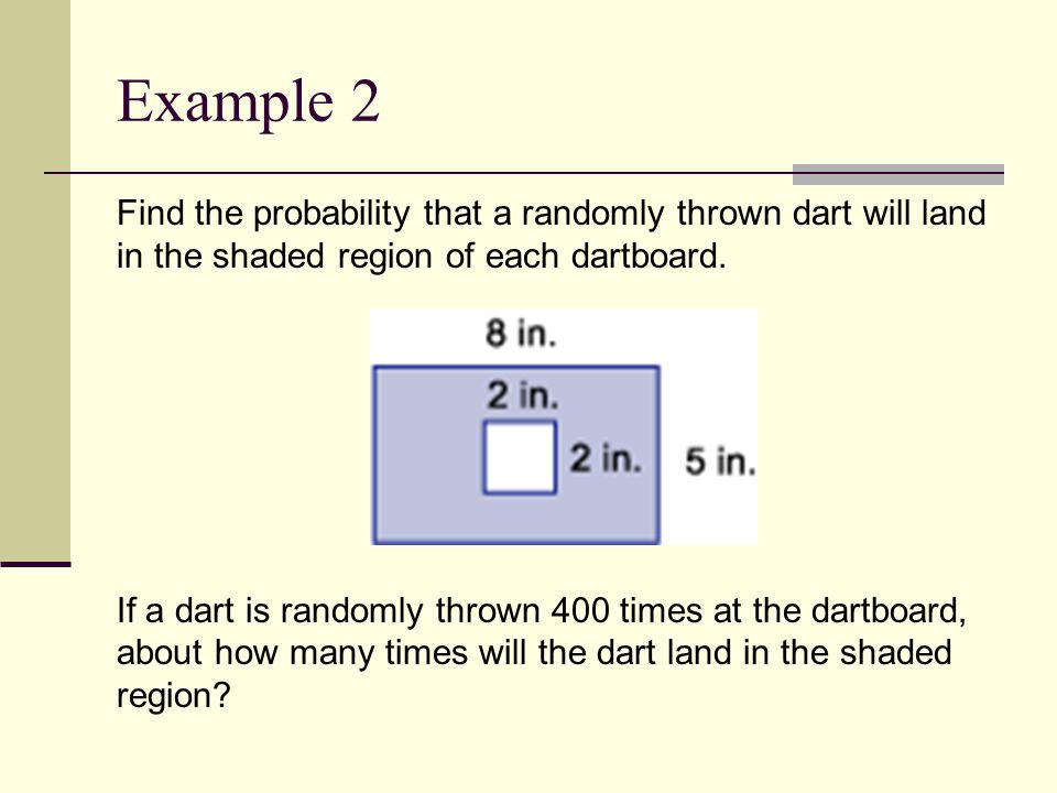 Example 2 Find the probability that a randomly thrown dart will land in the shaded region of each dartboard.