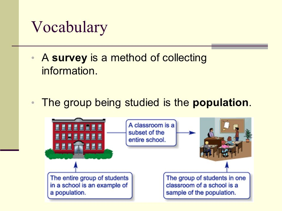 Vocabulary A survey is a method of collecting information.