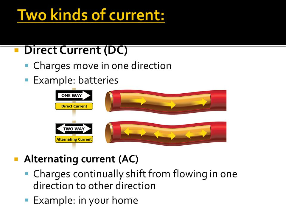  Direct Current (DC)  Charges move in one direction  Example: batteries  Alternating current (AC)  Charges continually shift from flowing in one direction to other direction  Example: in your home