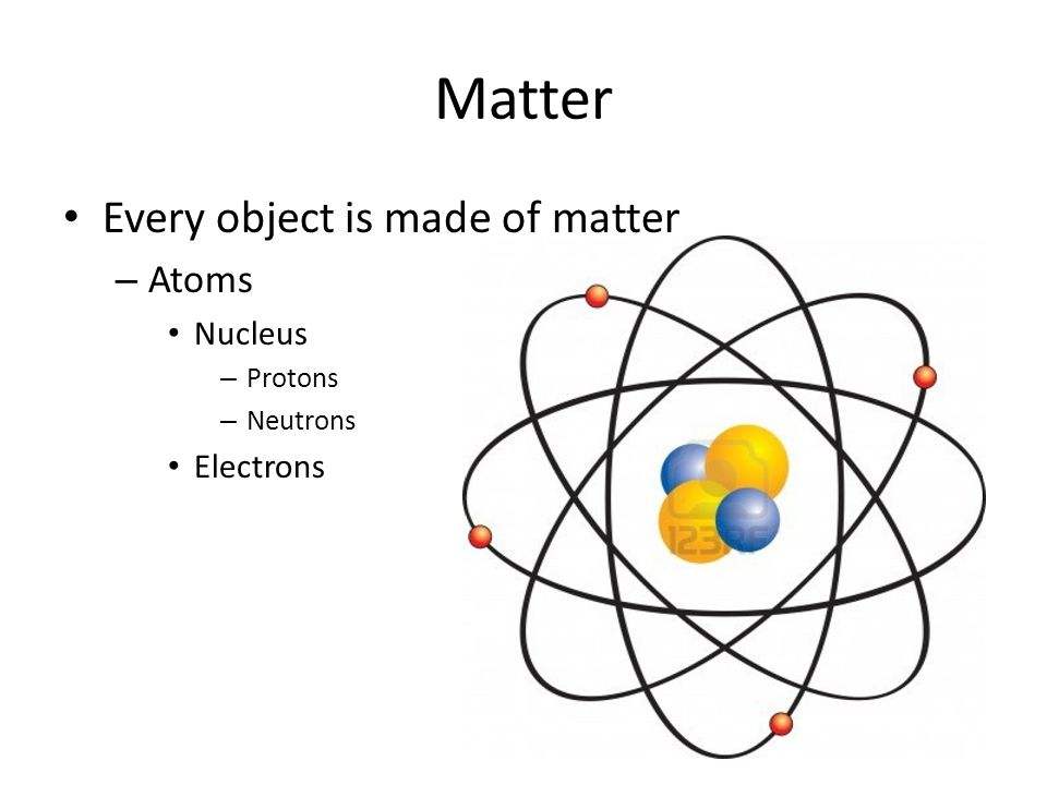Matter Every object is made of matter – Atoms Nucleus – Protons – Neutrons Electrons